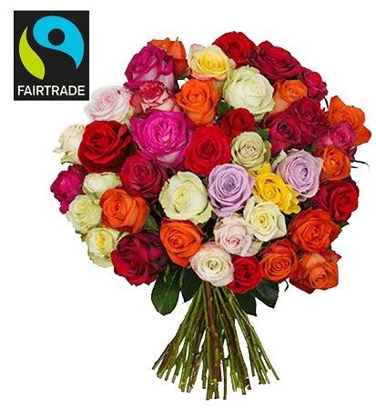 HappyNewYear-Strauß mit 44 bunten FairTrade Rosen für nur 23,98€ inkl. Versand