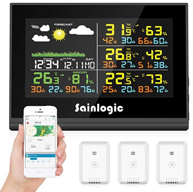 Sainlogic WLAN Funk Wetterstation mit 3 Außensensoren & App Anbindung für 47,99€