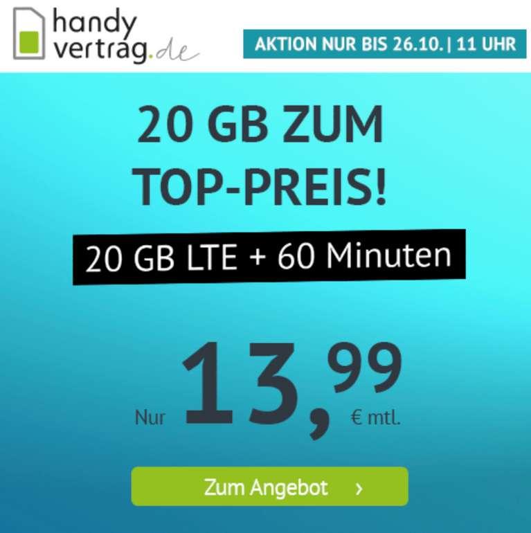 Handyvertrag.de: o2 Tarif mit 20 GB LTE & 60 Minuten für 13,99€ mtl. (monatlich kündbar!)