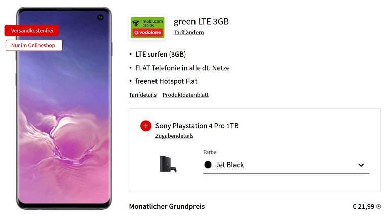 Samsung Galaxy S10 Enterprise Edition Mobilcom-Debitel Allnet-Flat mit 3GB LTE