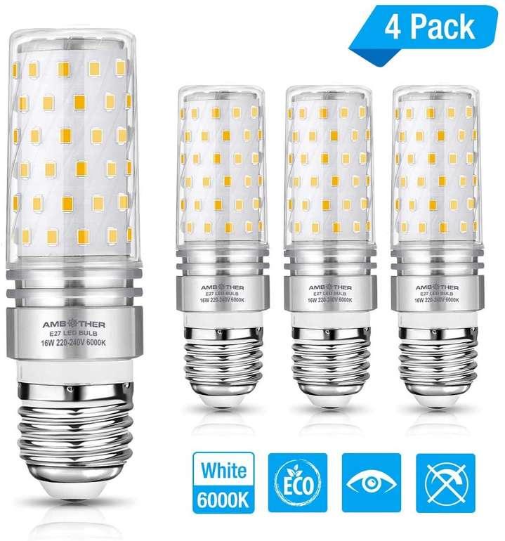 Ambother E27 LED Lampen im 4er Pack (16W, 1600 Lumen) für 8,49€ inkl. Prime Versand (statt 17€)