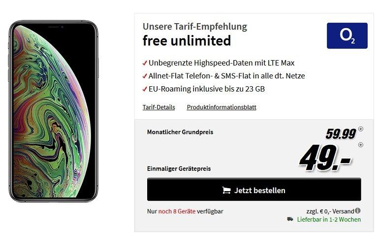 Apple iPhone Xs Max o2 Allnet-Flat unlimited LTE