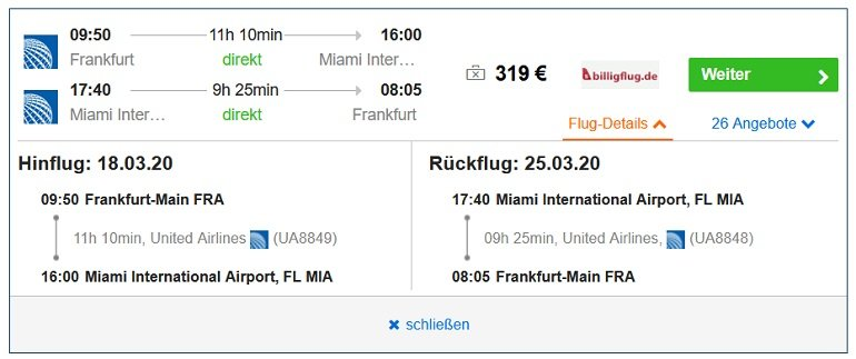 Hin- und Rückflug Frankfurt Miami