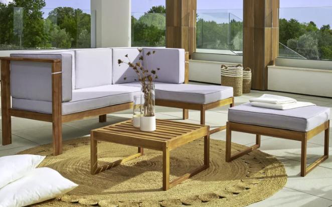 """Bessagi Home Loungegarnitur inkl. Auflagen & Kissen in hellgrau """"Annelio"""" für 419,30€inkl. Versand (statt 599€)"""