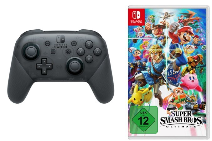 Nintendo Switch Pro Controller + Super Smash Bros. Ultimate für 99€ + 10€ Coupon