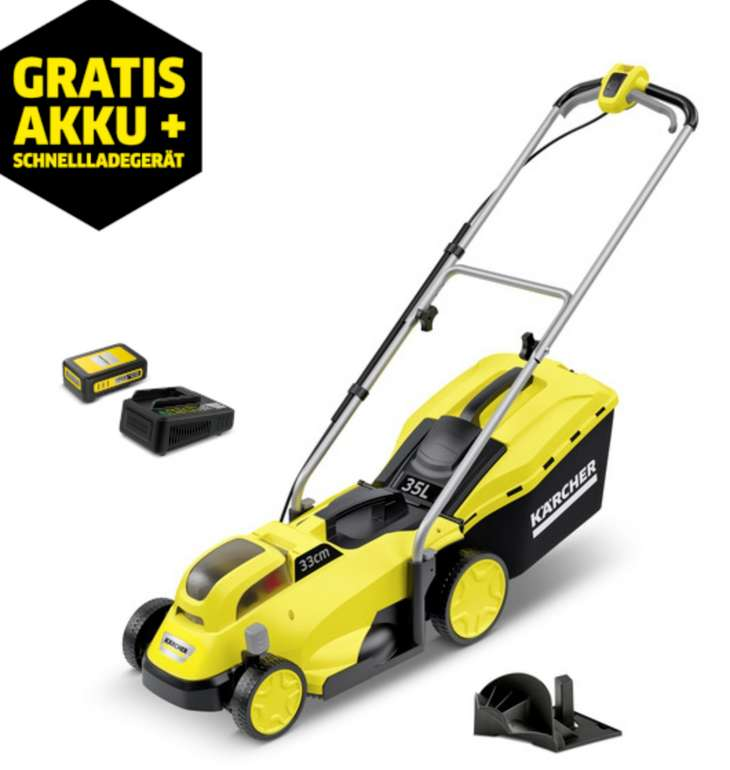 Kärcher LMO 18-33 Rasenmäher + 18V-Akku (2,5 Ah) + Schnellladegerät für 184,99€inkl. Versand