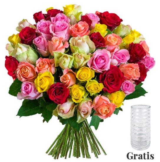 35 RomanticRainbow Rosen + Gratis Vase für 24,98€ inkl. Versand