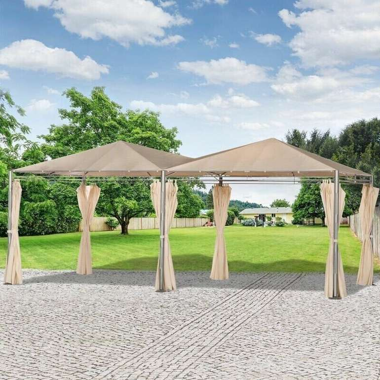 Outsunny doppel Gartenpavillon mit Zubehör (595 x 300 cm) für 139,95€ inkl. Versand (statt 240€)
