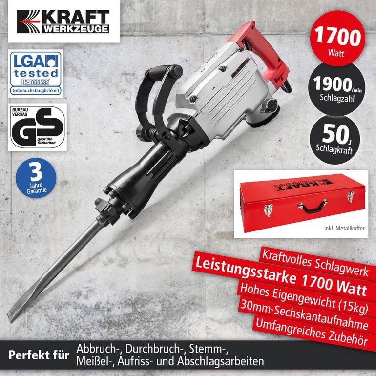 Kraft Werkzeuge Stemm- und Abbruchhammer 1700W für 74,25€ inkl. Versand