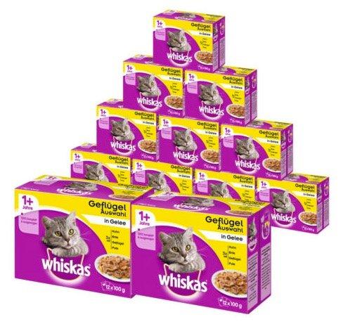 Whiskas Katzenfutter 108x 100g + 36 weitere Packungen gratis nur 26,99€