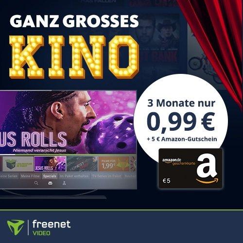 3 Monate Freenet Video für 0,99€ testen + Gratis 5€ Amazon Gutschein (mtl. kündbar!)