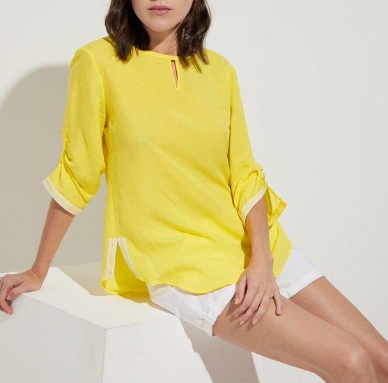 Eterna: 20% auf Blusen & Blusenkleider ab 79€, z.B. Gelbe Bluse für 63,96€