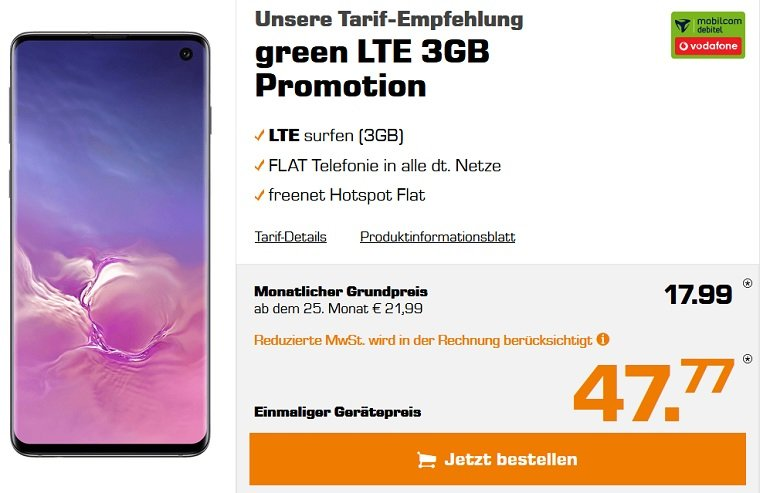 Samsung Galaxy S10 Mobilcom-Debitel Vodafone green LTE Allnet-Flat 3GB LTE