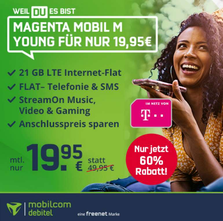 Telekom Magenta Mobil M Young Tarif mit 21 GB LTE (300 Mbit/s) & Allnet Flat für 19,95€ mtl. - bis 28 Jahre!