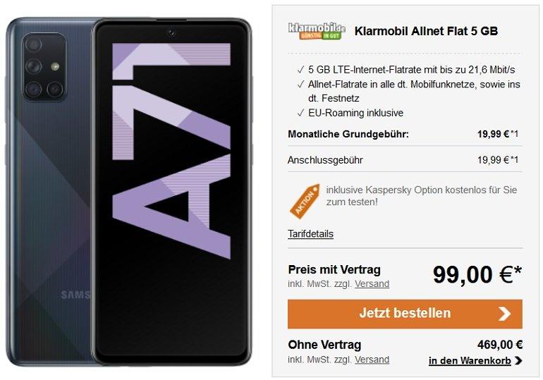Samsung Galaxy A71 128GB Klarmobil Vodafone Allnet-Flat mit 5GB LTE