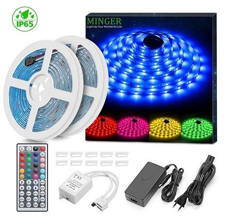 Minger - 2 x 5 Meter RGB LED Streifen Kit mit Fernbedienung für 13,94€ inkl. VSK