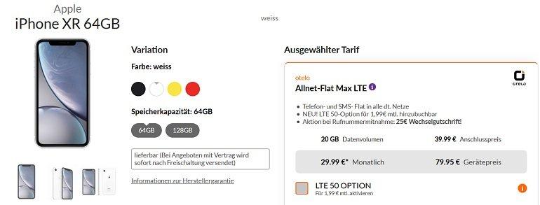 Apple iPhone XR 64GB Otelo Vodafone Allnet-Flat Max 20GB LTE