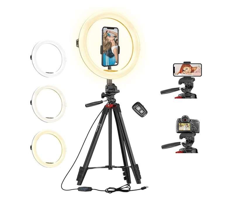 """GooFoto 11"""" LED Ringlicht Stativ mit Fernbedienung für 24,99€ inkl. Prime Versand (statt 49,99€)"""