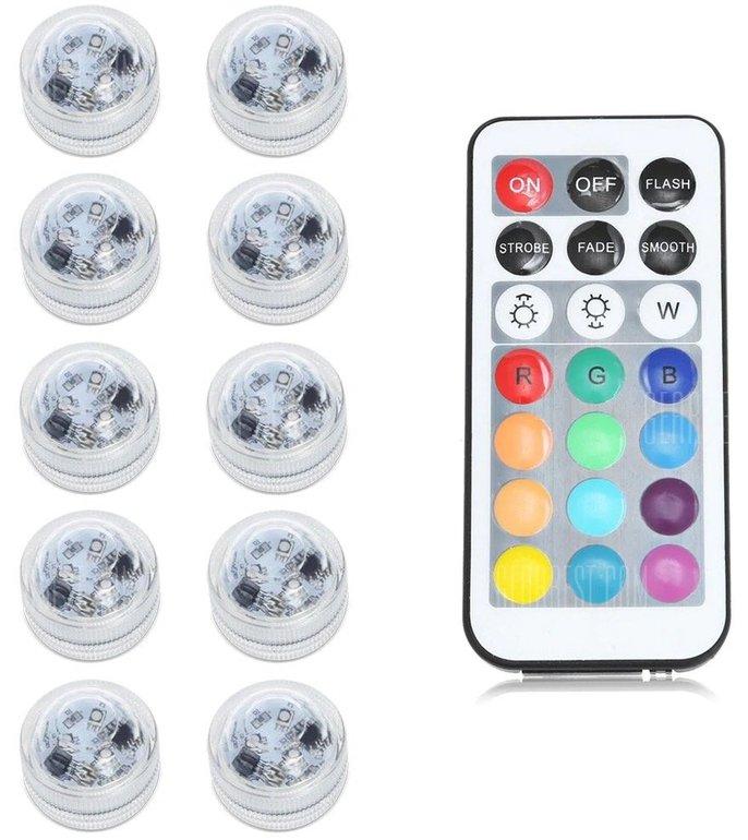 10 wasserdichte LED-Teelichter mit Fernbedienung und 12 Farben für 9,63€