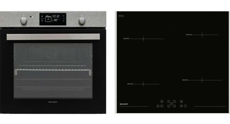 Sharp Einbau Backofen Set Induktionskochfeld Umluft Backofen Pyrolyse 60cm (Autark) für 449,10€ (statt 659€)