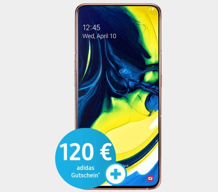 Galaxy A80 (79€) + o2 Free Tarif mit 10GB LTE + 120€ Adidas Gutschein nur 29,99€