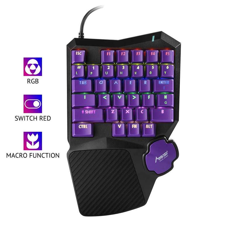 Mad Giga mechanische Einhand Tastatur mit RGB Hintergrundbeleuchtung für 15,59€ (Prime)
