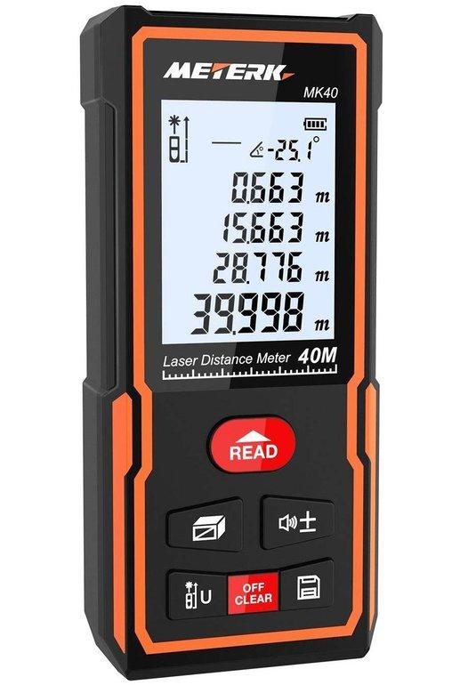 Meterk Laser Entfernungsmesser (Messbereich: 0,05-40m) für 14,15€ mit Prime