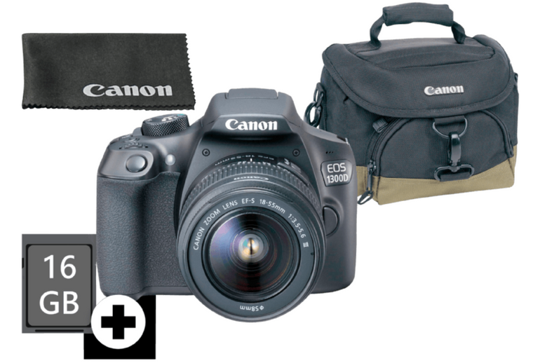CANON EOS 1300D Kit Kamera + 18-55 mm Objektiv + Tasche + 16GB SD für 266€