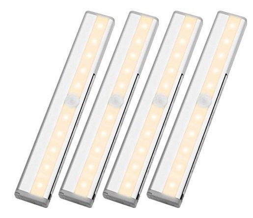 Lighting EVER - 4er Set Unterbau-Schrankleuchten mit Bewegungssensor für 24,99€