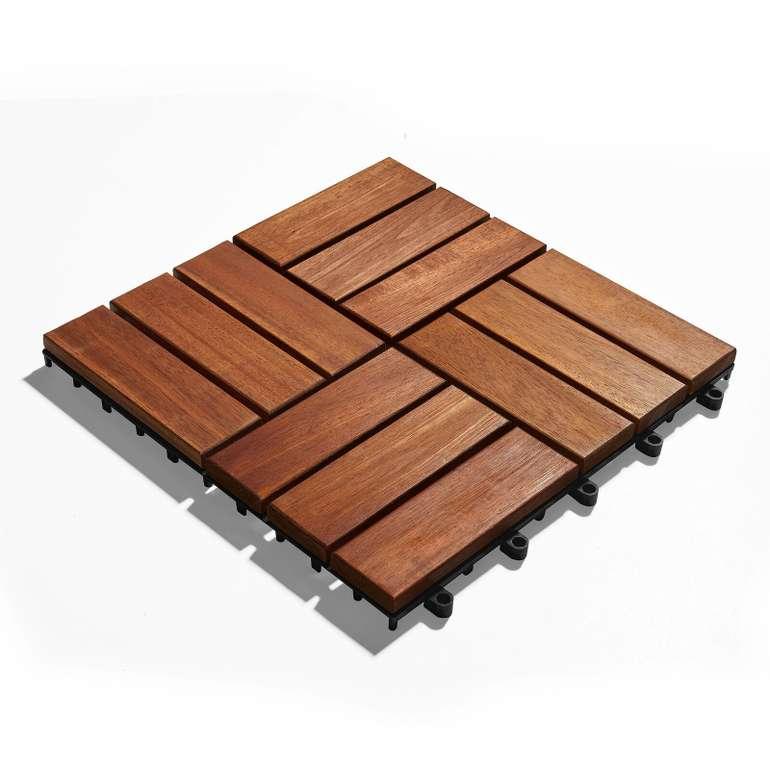 Akazienholz Terrassenfliesen 30x30 cm im 10er-Set in Braun für 29,90€ inkl. Versand (statt 44€)
