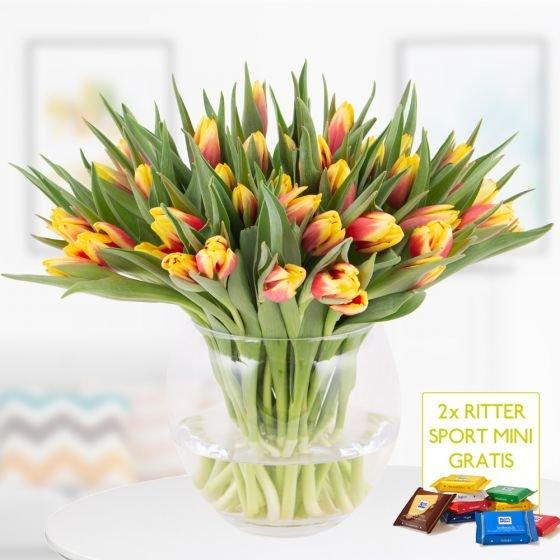 40 zweifarbige Tulpen (rot-gelb) + 2 Ritter Sport Minis für 22,90€