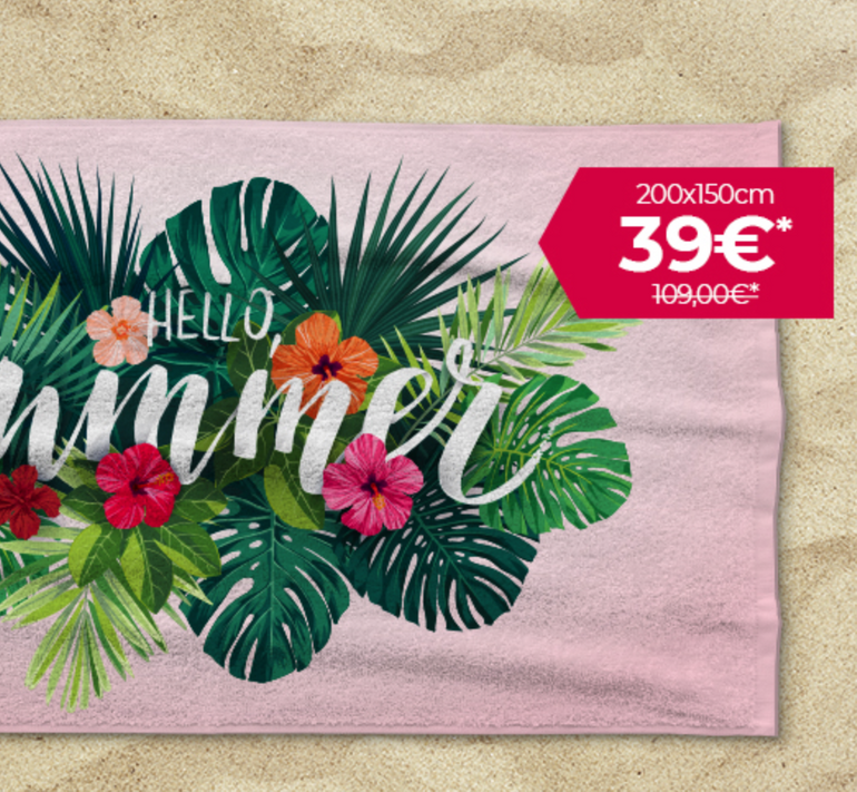 XXL-Strandtuch mit eigenem Foto (200x150cm) für 39€ zzgl. 6,90€ Versand