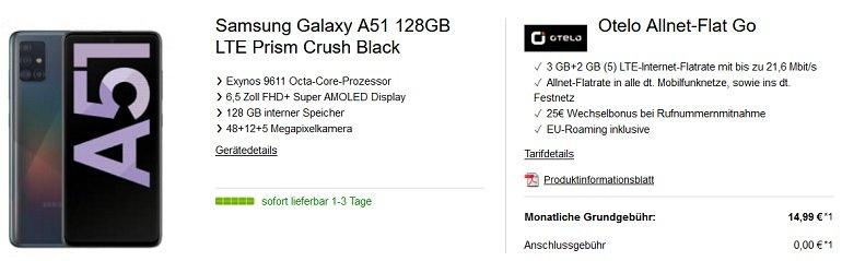 Samsung Galaxy A51 Otelo Vodafone Allnet Flat mit 5GB LTE
