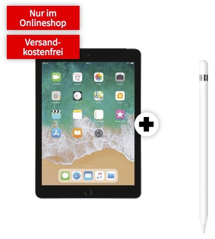 Apple iPad 2018 WiFi + Cellular + Pencil (99€) + 10GB Telekom LTE zu 14,99€ mtl.