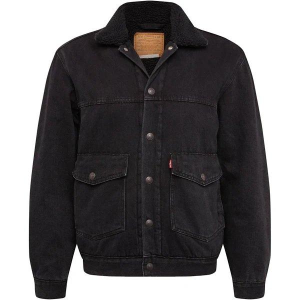 Levi's Jeansjacke Patch PKT Sherpa Trucker (schwarz) für 44,97€ inkl. Versand (statt 85€)