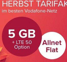 Otelo Vodafone AllNet Flat: 5GB LTE zu 24,99€ mtl. + 289€ Guthaben (eff. 12,95€)