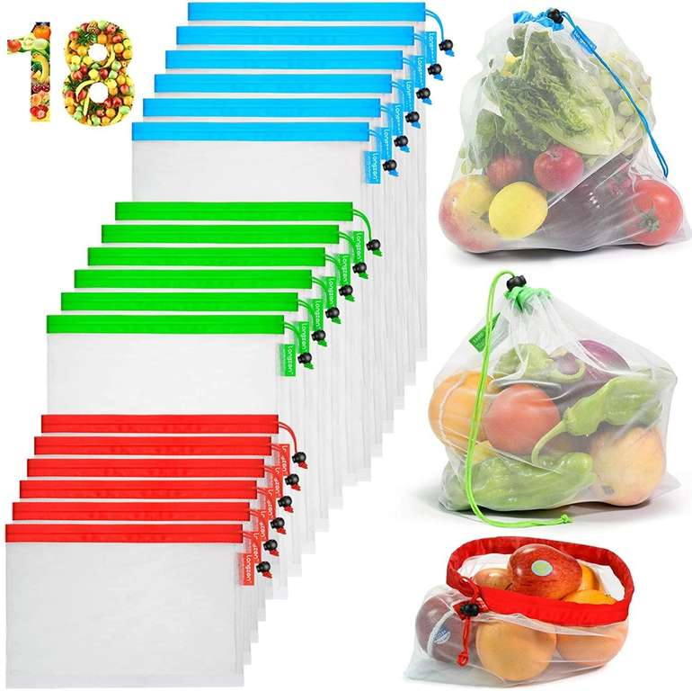 Longzon 18er Pack Obst- und Gemüsebeutel für 5,99€ inkl. Prime Versand (statt 12€)