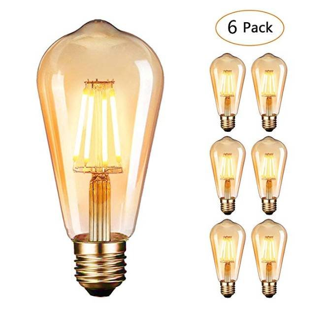 6er Pack Dobee Edison Vintage LED Lampen (E27, 4W, 220V) für 13,99€ mit Prime