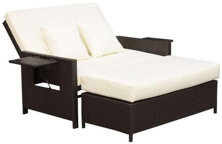 Outsunny Polyrattan Lounge-Sofa 2-Sitzer mit Kissen und Hocker für 399,99€ inkl. Versand (statt 458€)