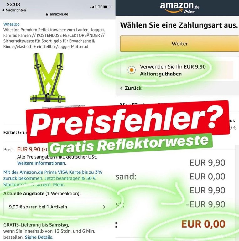 Preisfehler? Reflektorweste gratis dank Gutschein-Aktion