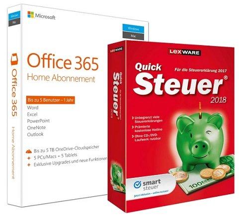 Microsoft Office 365 Home (5 PCs / 1 Jahr) + Lexware QuickSteuer 2018 für 58,98€