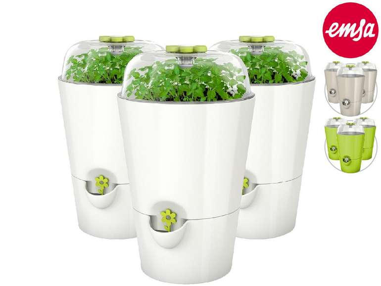 3er Pack Emsa Kräutertöpfe mit automatischer Bewässerung (2 Farben) für 20,90€ inkl. Versand