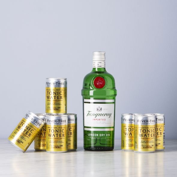 Tanqueray London Dry Gin + 8er Set Fever Tree Indian Tonic für 20,88€