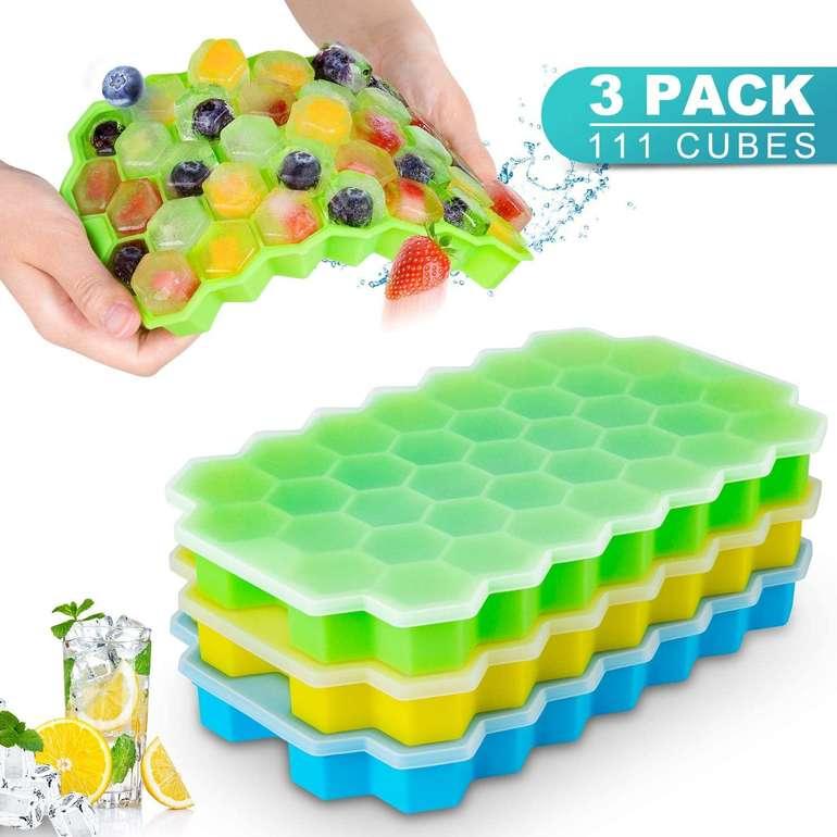 Cishanjia 3er Pack Eiswürfelformen inkl. Deckel (für 111 Eiswürfel) nur 6,29€ inkl. Prime Versand (statt 9€)