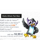 Otelo Allnet Flat (42,2MBit/s) mit 3GB für 9,74€ mtl. oder 6GB für 13,36€ mtl.
