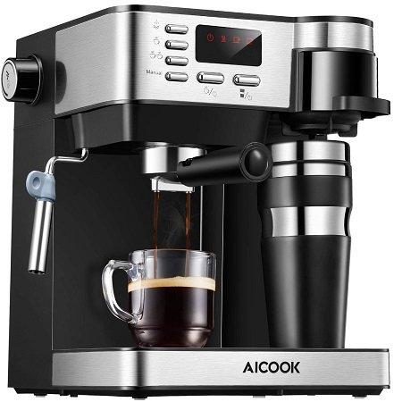 Aicook 15 bar Espressomaschine mit Milchaufschäumer & LED-Display für 79,99€