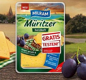 Milram Müritzer Käse (herzhaft) gratis testen dank Geld zurück Garantie