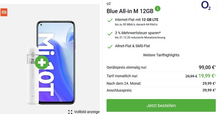 Xiaomi Mi 10T o2 Blue All-In M Allnet-Flat mit 12GB LTE 2