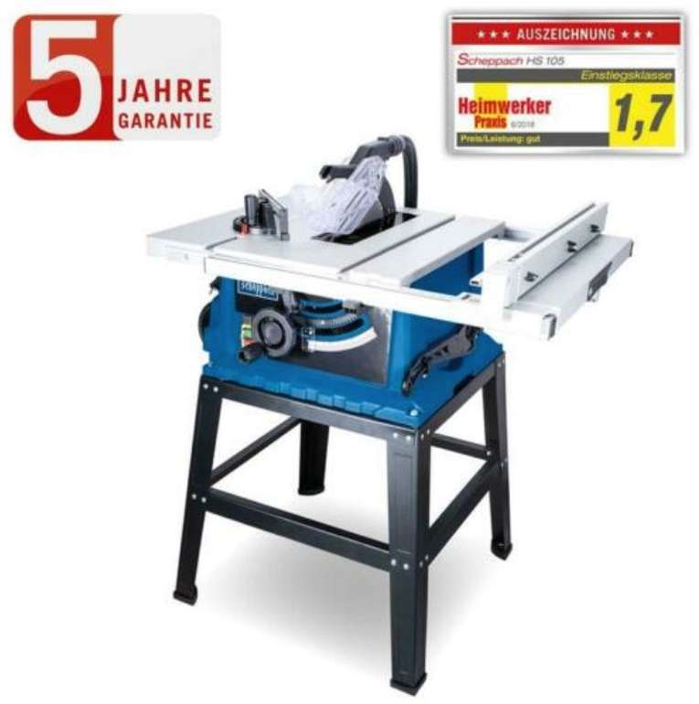 Scheppach HS105 Tischkreissäge mit Untergestell (2000W, Schnitthöhe 75mm) für 219,95€ (statt 260€)