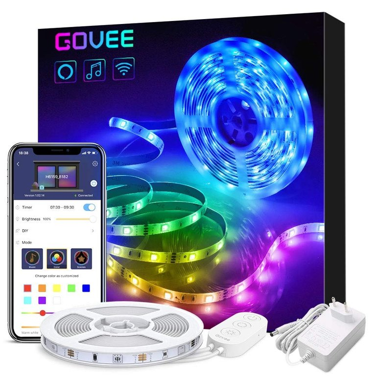 Govee 5m Smart LED Stripes mit App-Steuerung (Alexa & Google Home komp.) für 19,59€ - Prime!